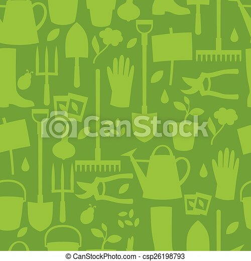 Background with garden design elements and icons - csp26198793