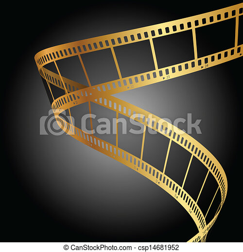 vector background with gold film strip clipart vector