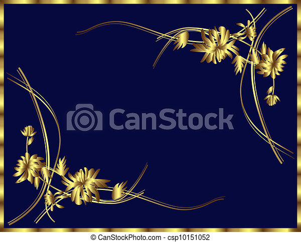 Blue Background With Gold Flowers