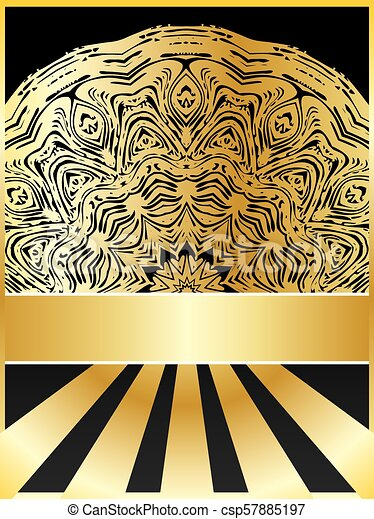 Background with golden floral - csp57885197