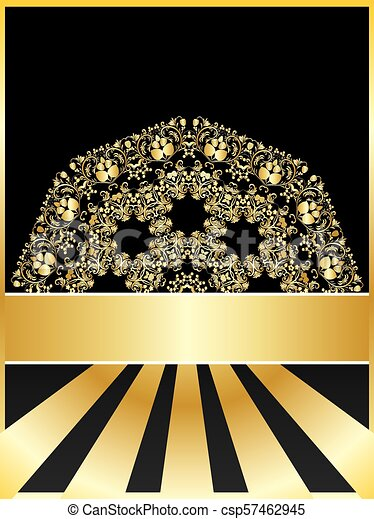 Background with golden floral - csp57462945