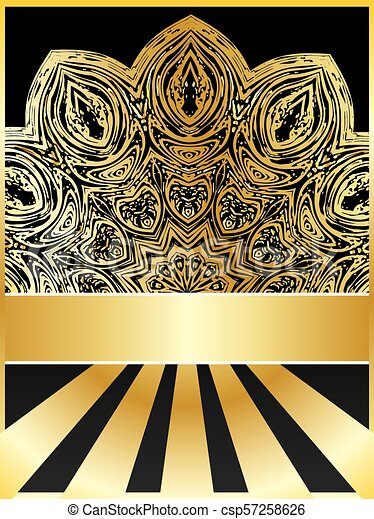 Background with golden floral - csp57258626