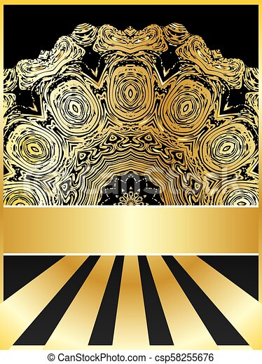 Background with golden floral - csp58255676