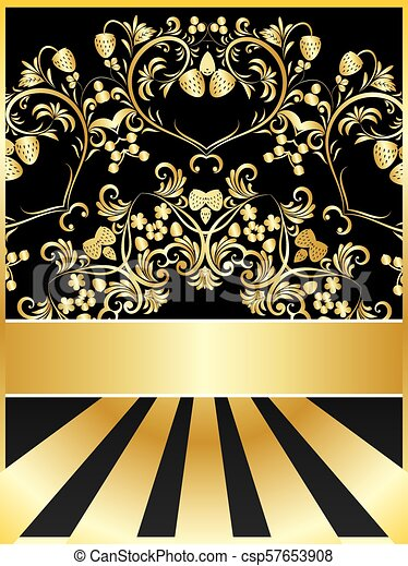 Background with golden floral - csp57653908