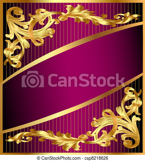 background with gold(en) ornament and lilac band - csp8218626