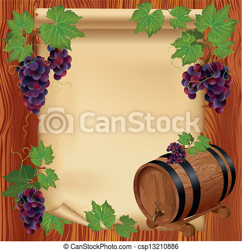 Background with grape, barrel and paper on wooden board - csp13210886