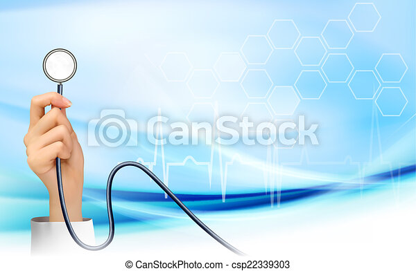 Background with hand holding a stethoscope. Vector - csp22339303
