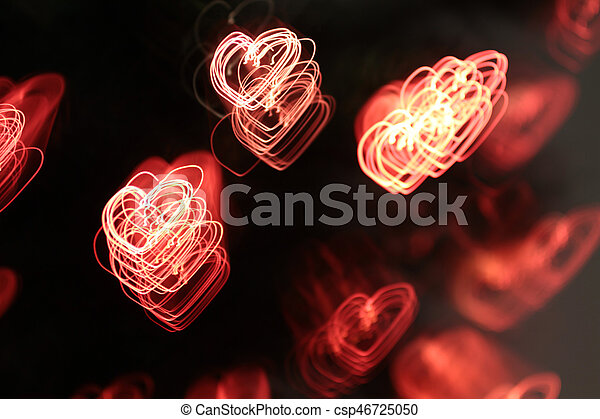 background with heart-shaped lights - csp46725050