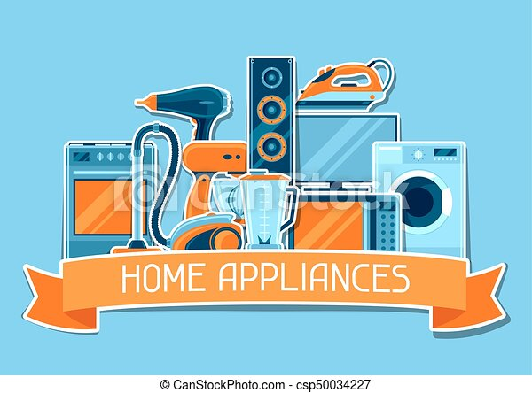 Background with home appliances. Household items for sale and shopping advertising poster - csp50034227