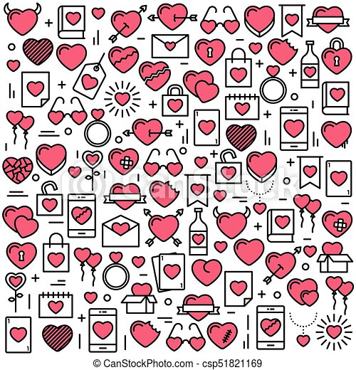 Background with icons and hearts. Vector illustration for Valentines day, wedding, celebration. - csp51821169