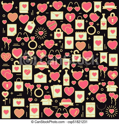 Background with icons and hearts. Vector illustration for Valentines day, wedding, celebration. - csp51821231