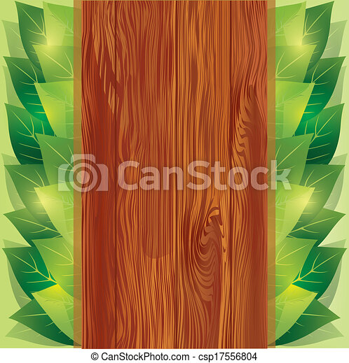 Background with leaves and wooden board - csp17556804