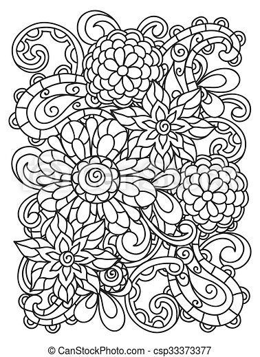 Background with line flowers for adult coloring page printing and drawing - csp33373377