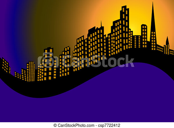 background with night city and high house  - csp7722412
