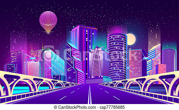 background with night city in neon lights - csp77785685