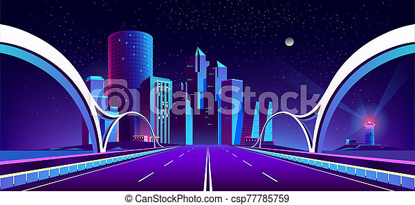 background with night city in neon lights - csp77785759
