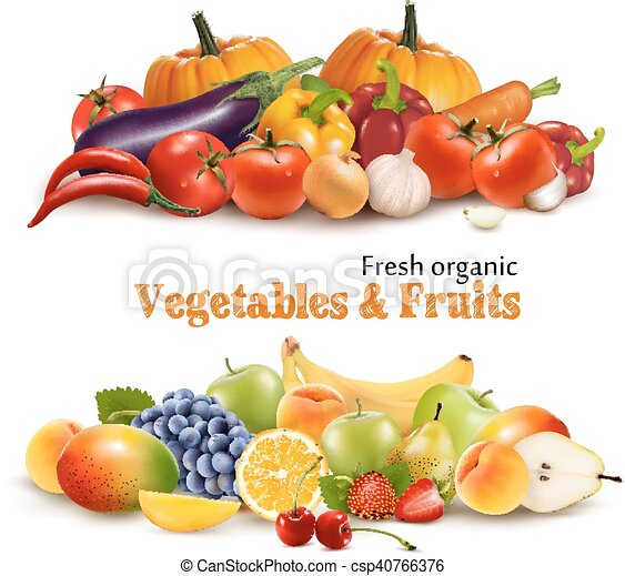 Background With Organic Fresh Vegetables. and Fruits Healthy Food. Vector illustration - csp40766376