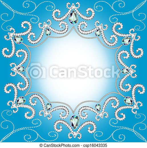 background with ornament with pearls and silver twisted edge - csp16043335