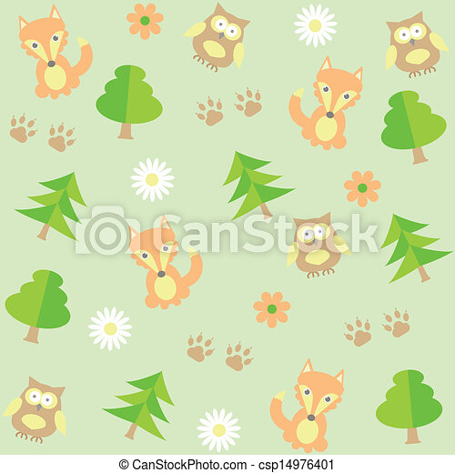 background with owls  and foxes - csp14976401