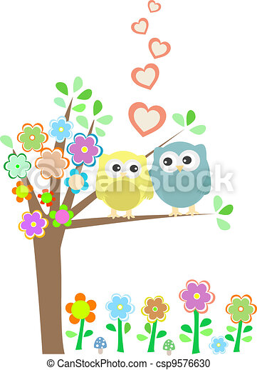 Background with owls in love sitting on branch - csp9576630