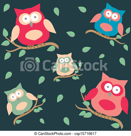 background with owls  on brunches - csp15716617