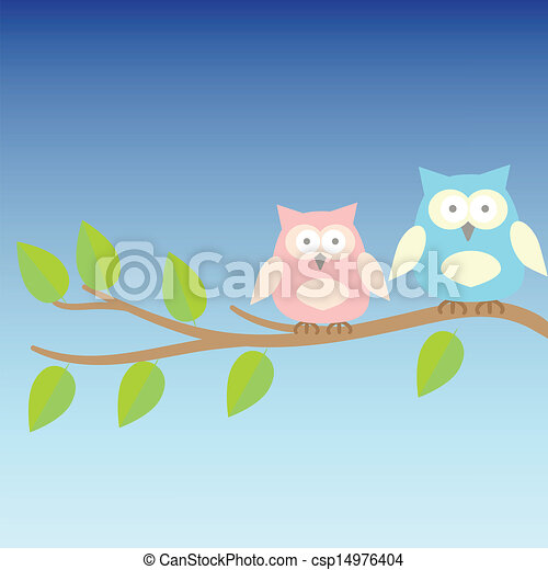 background with owls  on brunches - csp14976404