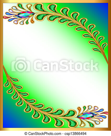 background with peacock feather gem stones - csp13866494