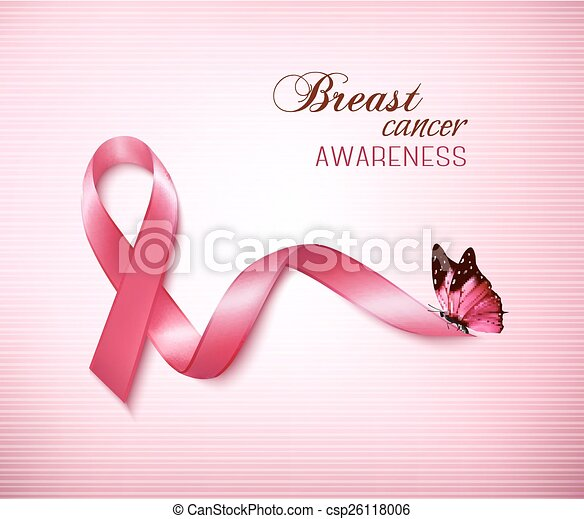 Background with Pink Breast Cancer Ribbon and butterfly. Vector - csp26118006