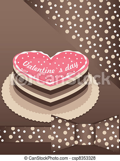 background with Pink cake - csp8353328