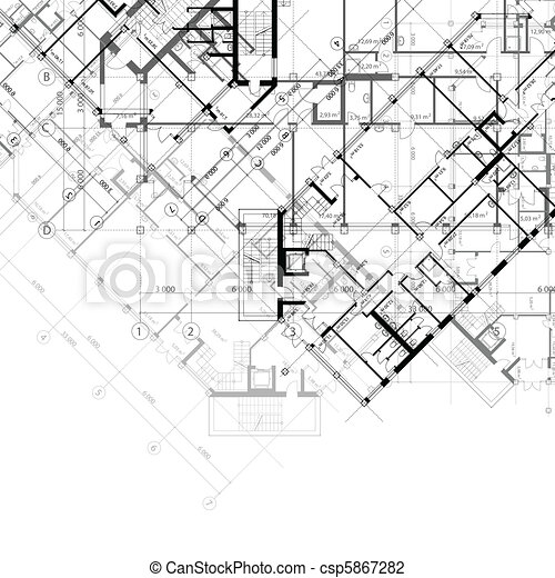 Background with plans of building Vector architectural black and
