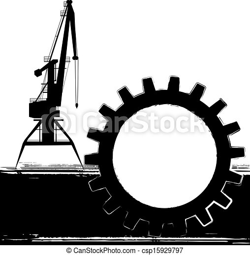 background with port crane - csp15929797