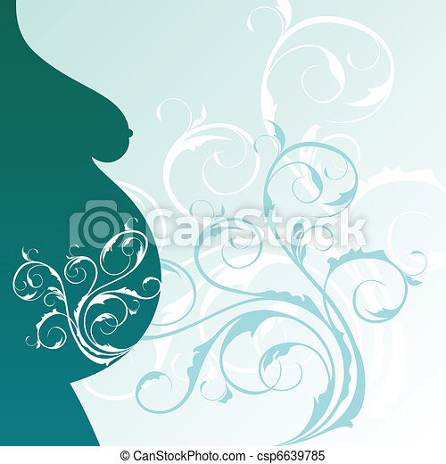 background with pregnant woman profile - csp6639785