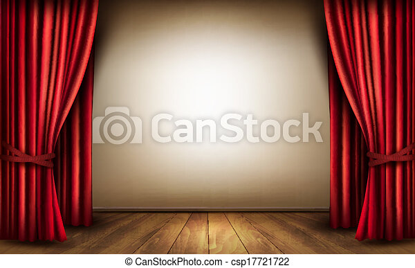 Background with red velvet curtain and a wooden floor. Vector illustration. - csp17721722