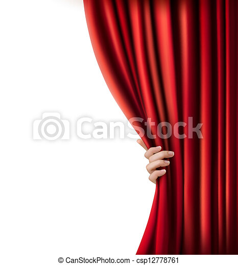 Background with red velvet curtain and hand. Vector illustration. - csp12778761