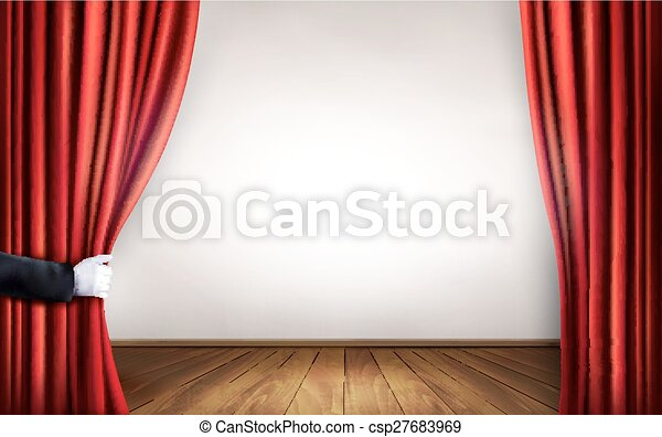 Background with red velvet curtain and hand. Vector illustration. - csp27683969