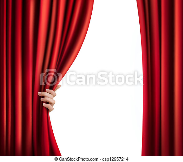 Background with red velvet curtain and hand. Vector illustration - csp12957214