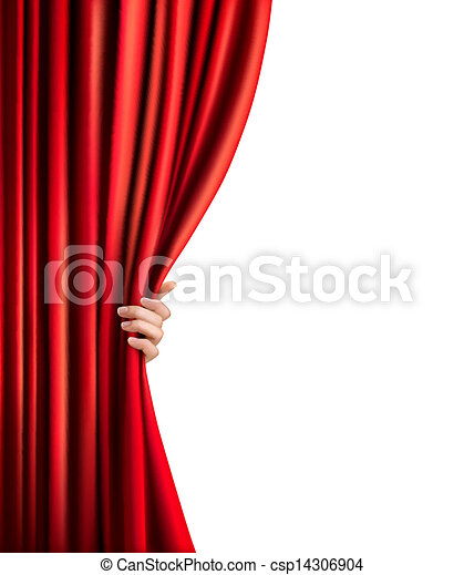 Background with red velvet curtain and hand. Vector illustration.  - csp14306904