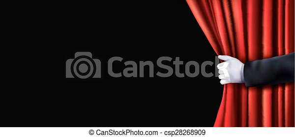Background with red velvet curtain and hand. Vector illustration. - csp28268909