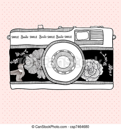 Background with retro camera. Vector illustration. Photo camera with flowers and birds. Camera with floral pattern. - csp7464680