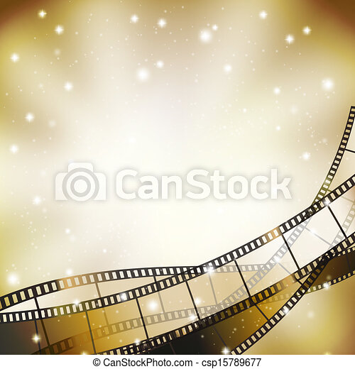 background with retro filmstrip and stars - csp15789677