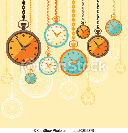 Background with retro watches in flat style. - csp20396379