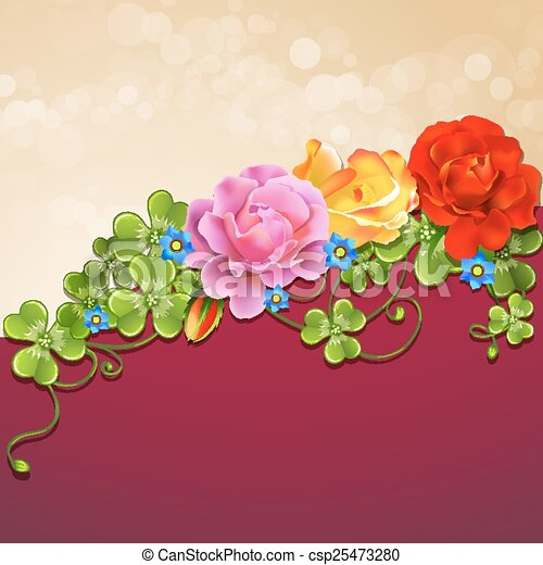 Background with roses - csp25473280