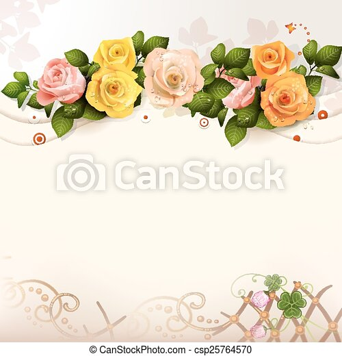 Background with roses - csp25764570
