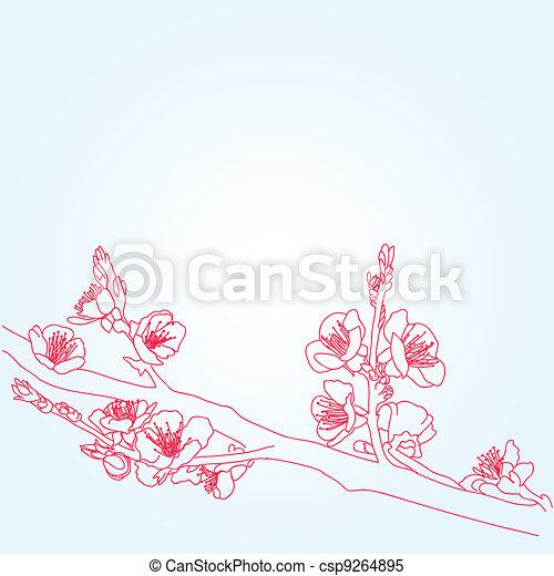 background with sakura flowers - csp9264895