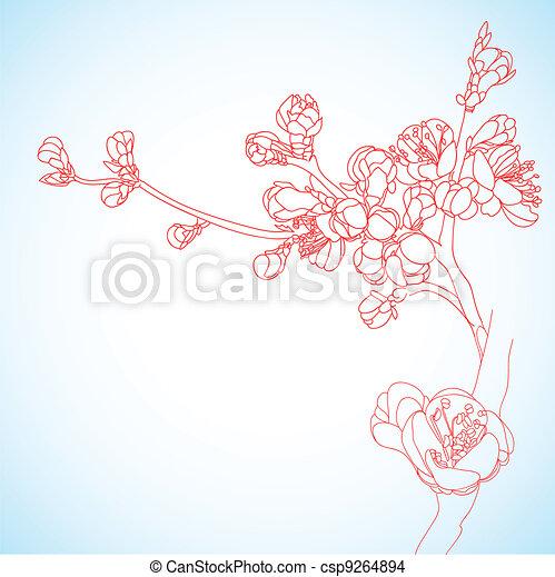 background with sakura flowers - csp9264894