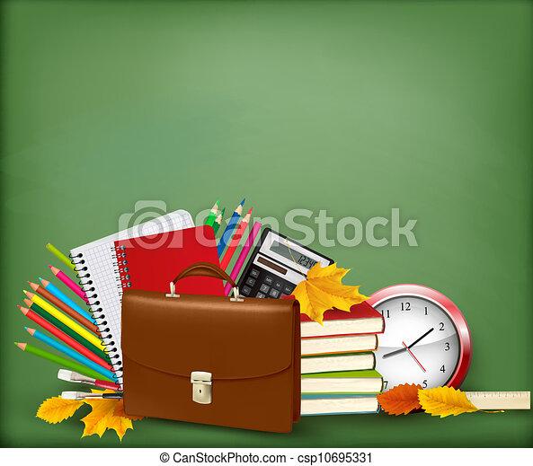 Background with school supplies - csp10695331