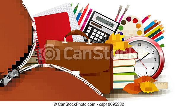 Background with school supplies - csp10695332