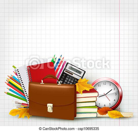 Background with school supplies - csp10695335