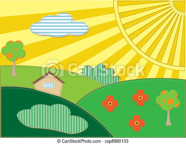 Background with scrapbooking landscape - csp8980103