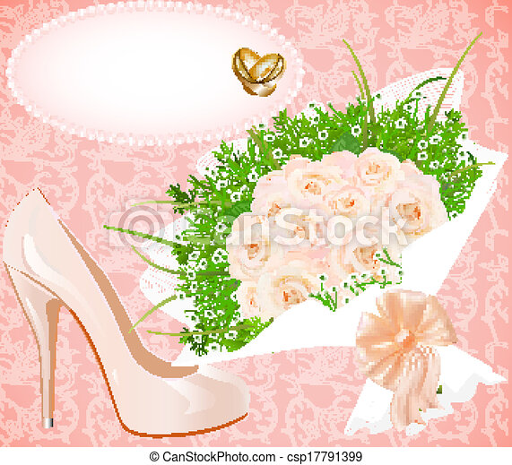 background with shoes bouquet and rings for wedding invitation - csp17791399